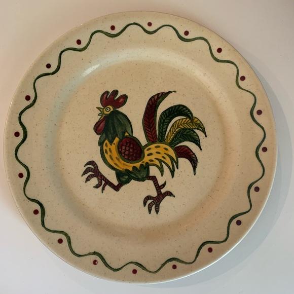 Poppy Trail Green Rooster Dinner Plate